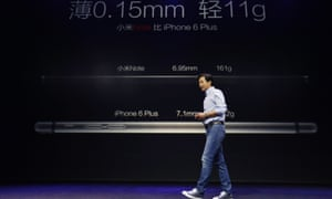 Lei Jun stakes Xiaomi's claim to Apple Inc's crown as he unveils the flagship Mi Note, its challenger to Apple's iPhone 6 Plus.