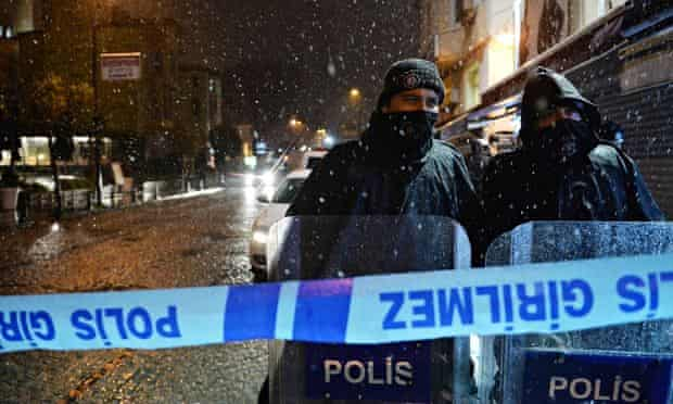 Police cordon off the site of the suicide bombing in Istanbul