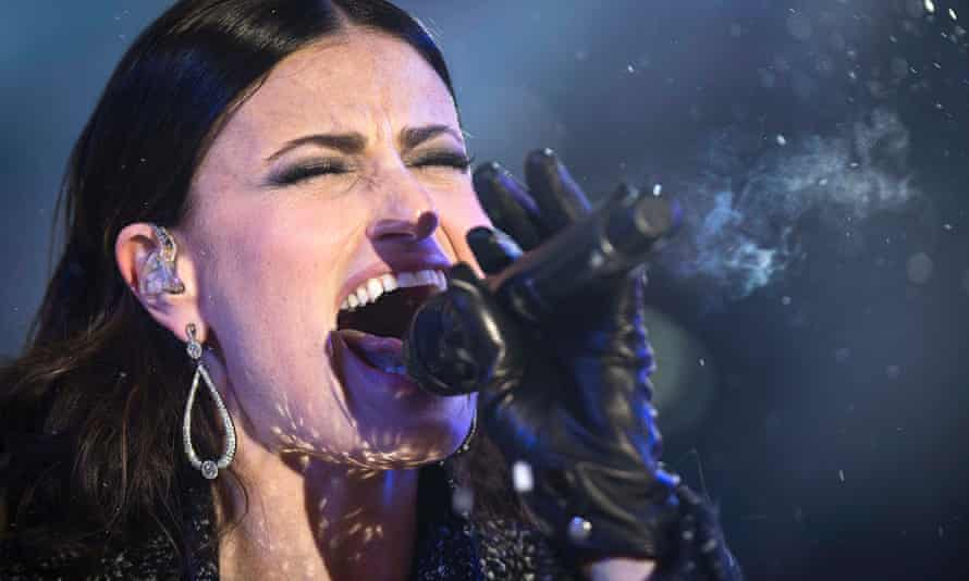 Idina Menzel performs in Times Square on New Year's Eve in New York.