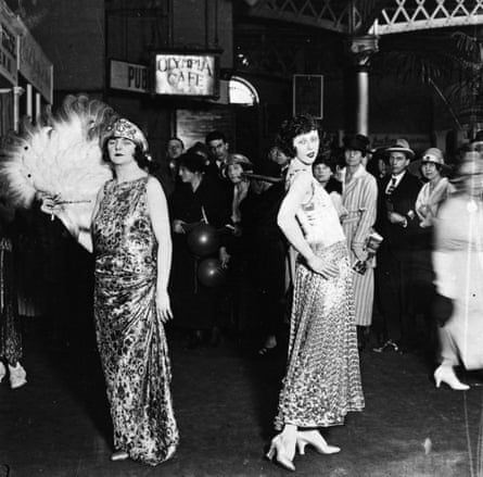 Evening gowns being modelled at the Home Exhibition, Olympia.