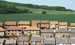 Houses built on land formerly designated an area of outstanding natural beauty, near Newhaven in Sussex