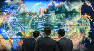 Visitors examine a map of the Russian oil refining factories and oil pumping stations, during the 21st World Petroleum Congress (WPC) in Moscow, Russia, 16 June 2014. The 21st World Petroleum Congress is scheduled for 15 to 19 June 2014, in Moscow.