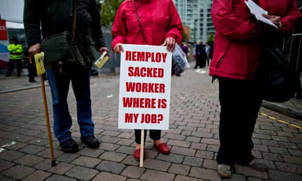 Sacked Remploy workers protesting