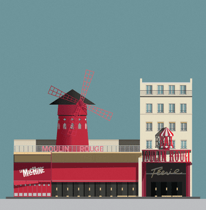 La Machine du Moulin Rouge, a nightclub next door to the Moulin Rouge in Paris, illustrated by Pablo Benito