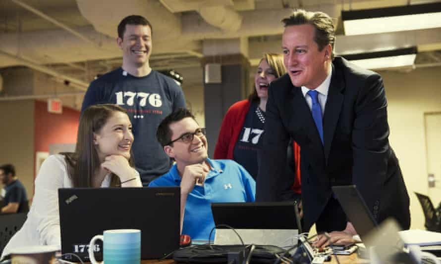 British PM with members of education tech company EdClub in Washington on Friday.