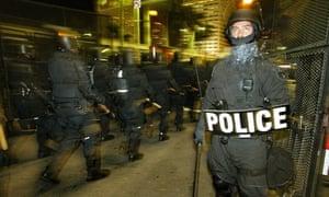 Police at a protest in Miami.