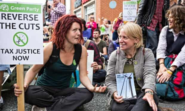 Natalie Bennett (right), Green party leader, at a demonstration in Manchester.