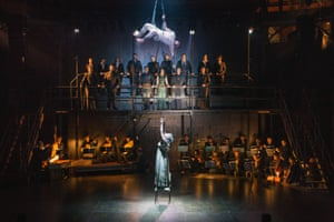 'Compelling': Gyula Orendt (Orfeo) reaches down to Mary Bevan (Euridice) in the Royal Opera's production of Orfeo at the Roundhouse.
