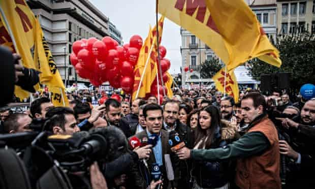 Alexis Tsipras of Syriza attends arally