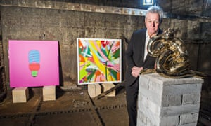 Richard Noble, head of art at Goldsmiths, with donated works by famous alumni