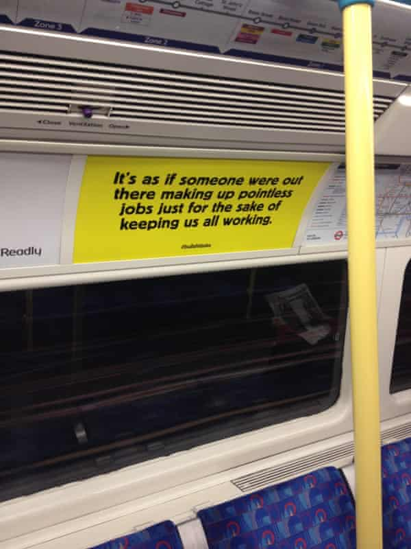 One of the spoof job adverts that appeared after New Year on London tube trains.