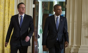 President Barack Obama and British Prime Minister David Cameron arrive for their joint news conference in the East Room of the White House in Washington, Friday, Jan. 16, 2015.