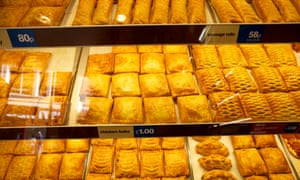 Chicken bakes, sausage rolls and pasties at Greggs.