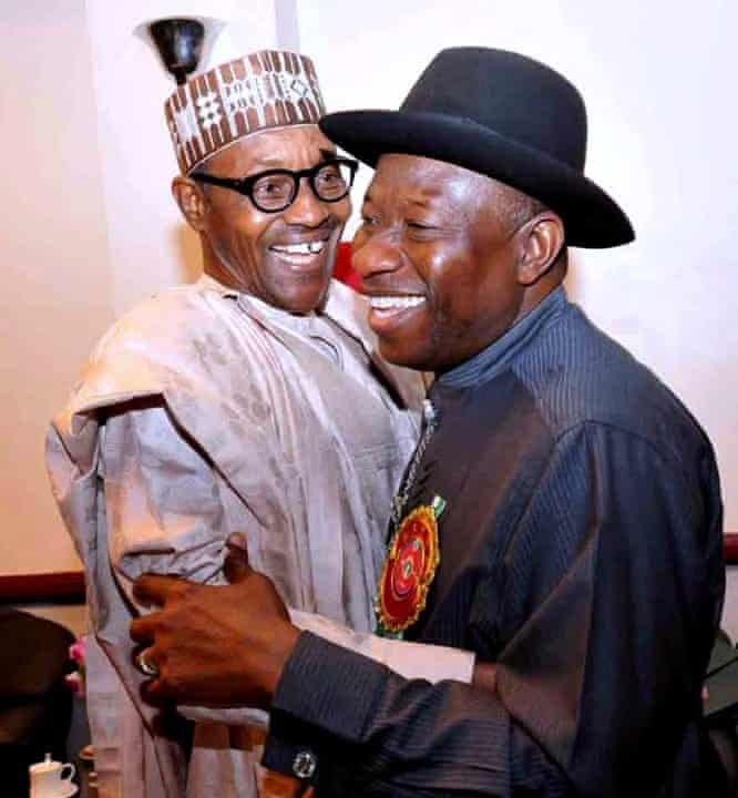 President Jonathan (right) and rival presidential contender Muhammadu Buhari in Abuja on 15 January.