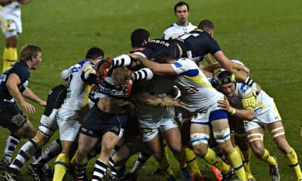 Sale Shark's lock Jonathan Mills on top of a maul in the Champions Cup match with Clermont Auvergne