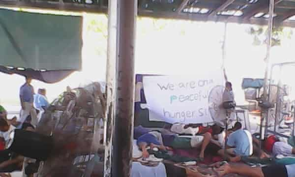 Hunger strikers in the Manus Island detention centre.