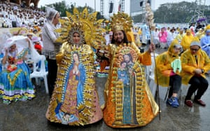 Dancers in colourful attire the mass celebrated by Pope Francis.