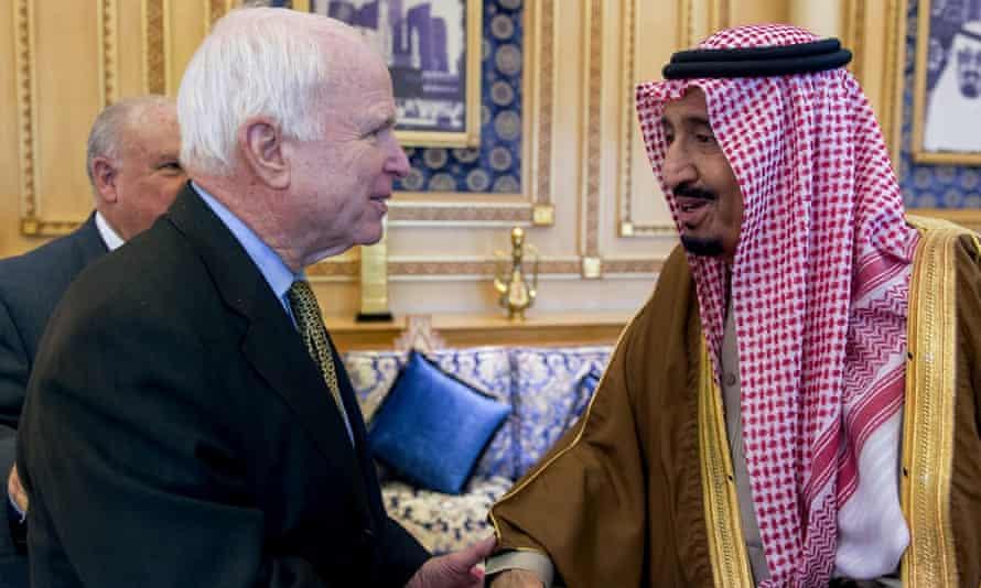 Republican Senator John McCain of Arizona met with Saudi Arabia's Crown Prince Salman on Saturday.