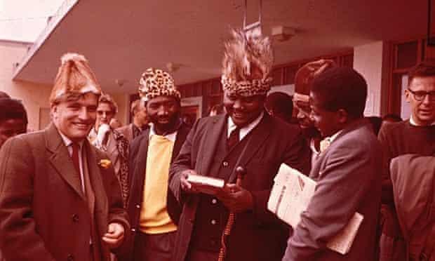 Comrades bid farewell to Terry Ranger on his deportation in1963. From left to right; Terence Ranger, Shelagh Ranger, Maurice Nyagumbo, Joshua Nkomo, Robert Chikerema, Robert Mugabe and John Reed.