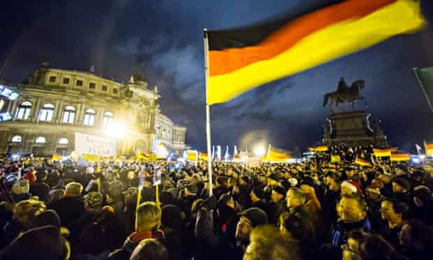 A Pegida rally in Dresden last month