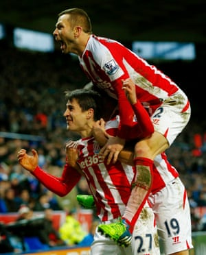 Bojan Krkic and Phil Bardsley (top) celebrate scoring for Stoke during their 0-1 victory over Leicester City at the KP Stadium.