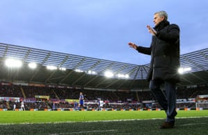 Jose Mourinho prowls the touchline as his team annihilate Swansea City by five goals.