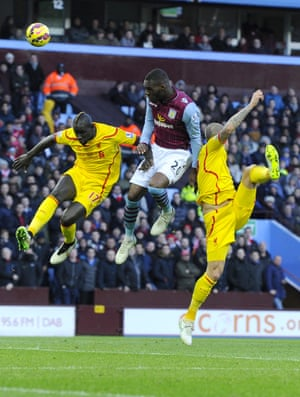 Villa's Christian Benteke heads towards goal, as Aston Villa take on Liverpool. Home advantage is not enough as Liverpool stomp to a  0-2 victory.