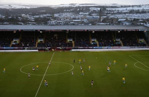 Scenic snow scenes at Turf Moor as Burnley take on Crystal Palace. Palace win 3-2.