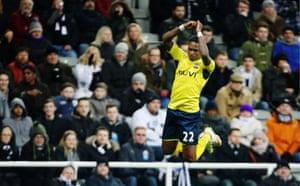 Southampton's Eljero Elia celebrates scoring their second goal as Southampton make it 1-2 against Newcastle at St James' Park
