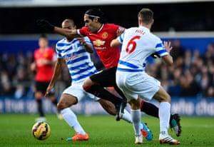 Radamel Falcao Garcia slices through the QPR defences as Manchester United take a 2-0 victory over QPR at Loftus Road
