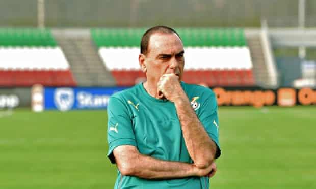 Ghana's coach Avram Grant leads his team