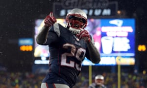 LeGarrette Blount is all smiles after running for three touchdowns as his Patriots routed the Indianapolis Colts 45-7 in the AFC Championship Game in Foxborough. New England will face the Seattle Seahawks in Arizona on 1 February in Super Bowl XLIX.
