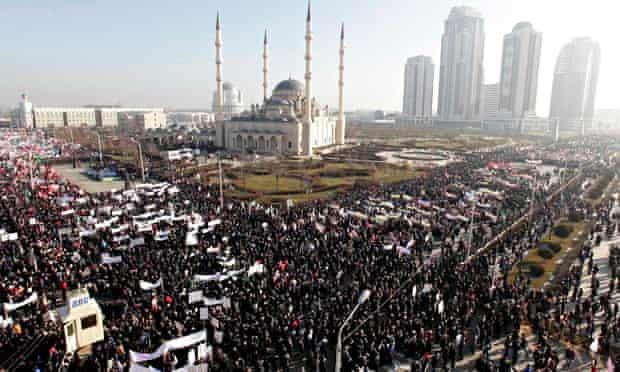 Anti-Charlie Hebdo rally in Grozy, Chechnya