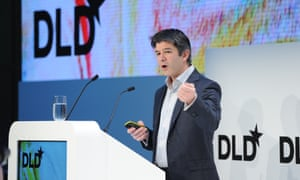 Travis Kalanick (CEO Uber) gestures on the podium during the DLD15 (Digital-Life-Design) Conference at the HVB Forum on January 18, 2015 in Munich, Germany.