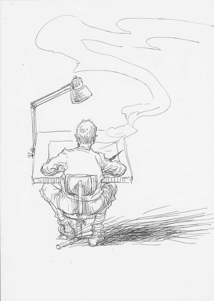 Chris Riddell illustration of artist working