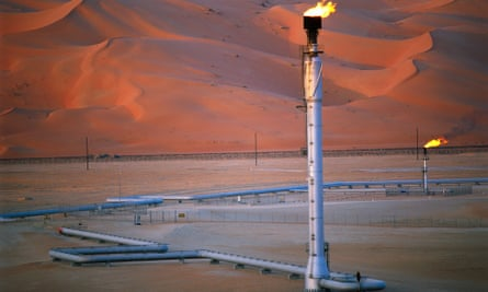 Excess gas being burned off at Shaybah in Saudi Arabia.