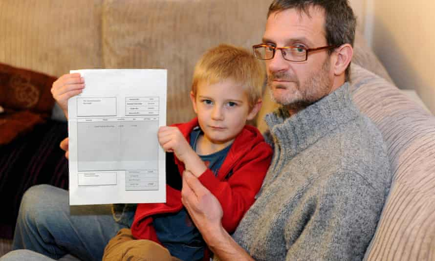 Alex Nash and his father Derek with the invoice for missing the birthday party.