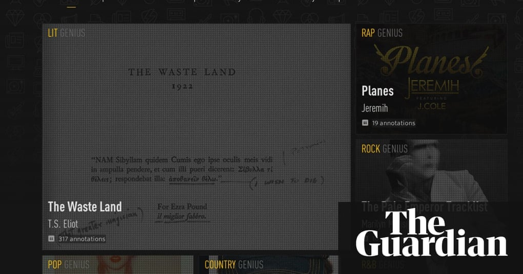 Genius moves beyond rap to annotate websites technology the guardian altavistaventures Image collections