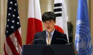 Shin Dong-hyuk makes a speech during an event in New York last year.