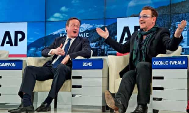 David Cameron Bono at the 2014 World Economic Forum in Davos, Switzerland