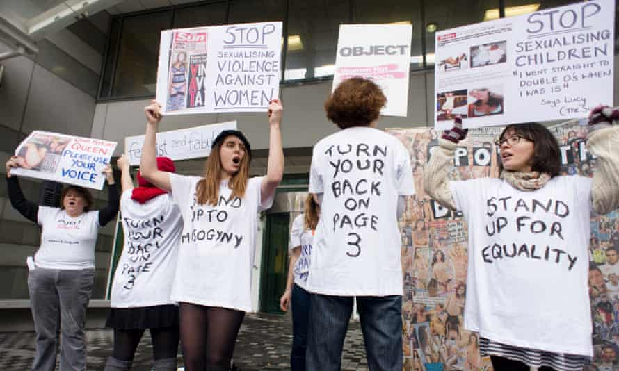 Campaigners protest over the Sun newspaper's daily photos of topless women.