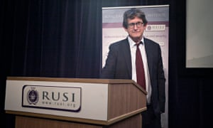Guardian editor Alan Rusbridger at the Royal United Services Institute, delivering a speech about pr