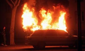 Car burning France New Year