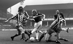 Everton's John Connolly shoots despite the challenge of four Altrincham defenders during their 1-1 draw at Goodison Park in 1975