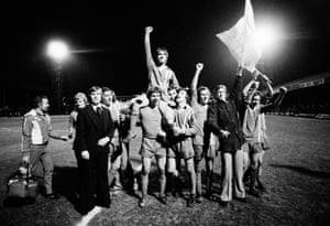 Neil Prosser of Harlow Town is held aloft by team-mates at Filbert Street after his 89th minute equaliser took their match with Leicester to a replay. A record crowd of 9,273 at the Sportscentre saw non-league Harlow beat the Second Division leaders Leicester City courtesy of John Mackenzie toe-poke in the 41st minute