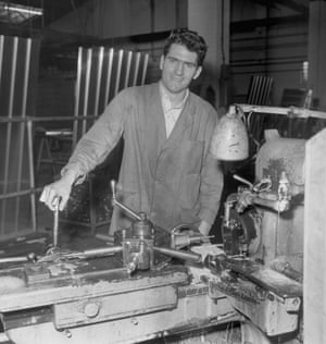 """A staple of media coverage of the third round is looking at the """"proper"""" jobs of part-time, non-league players. Here Yeovil Town right-back Alan Herrity is seen in 1964, operating a machine tool in the Westland factory at Yeovil, Somerset, where he helps to make garage doors."""