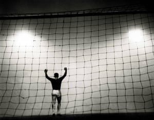 Manchester United goalkeeper Dave Gaskell celebrates as the winning goal is scored at the other end. He had to wait for confirmation from his defenders as the fog made it impossible to see the far end of Old Trafford.  United beat Bolton 2-1 in 1962