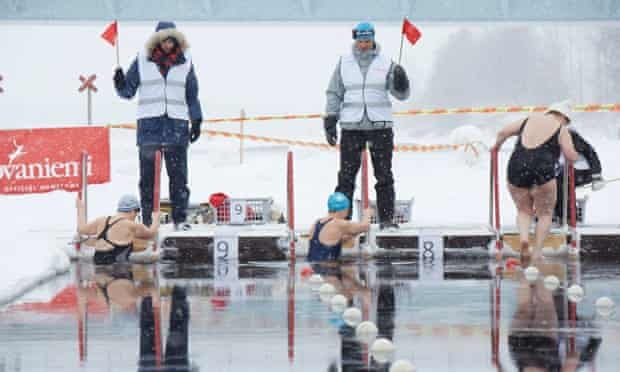 Swimmers at the World Winter Swimming Championships (WWSC) in Rovaniemi, Finnish Lapland