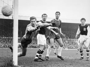 An anxious moment for the Nottingham Forest goalkeeper Peter Grummitt as the ball flies inches wide during their 2-1 win over Northampton Town at the County Ground, Northampton