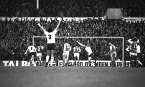 Tottenham players celebrate after Garth Crooks scored the only goal of the game in 1982 against Arsenal at White Hart Lane